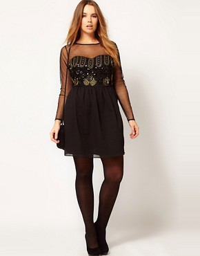 Image 4 ofASOS CURVE Dress With Deco Embellishment