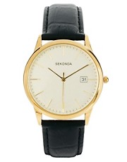 Sekonda Black Leather Strap Watch