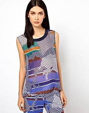 Ostwald Helgason Silk Shell Top in Graphic Links Print