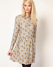 Paul and Joe Sister Daisy Shirt Dress with Gathered Waist