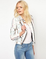 Joe&#39;s Jeans  Jacke mit neonfarbenem Schlangenhautmuster