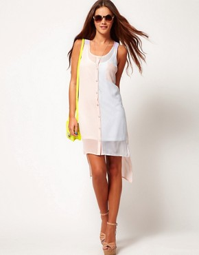 Image 4 ofRiver Island Colour Block High Low Shirt Dress