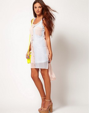 Image 1 ofRiver Island Colour Block High Low Shirt Dress
