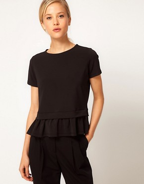 Image 1 ofASOS Top with Drop Waist Frill Peplum
