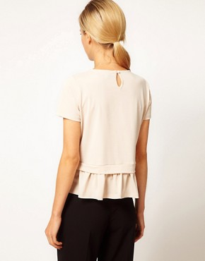 Image 2 ofASOS Top with Drop Waist Frill Peplum