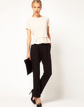 Image 4 ofASOS Top with Drop Waist Frill Peplum