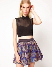 ASOS Cropped Fitted Top With Collar