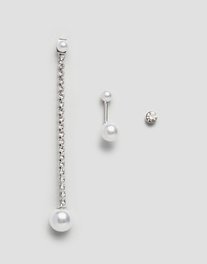 DesignB London Pearl and Chain Earring Multipack - Gold