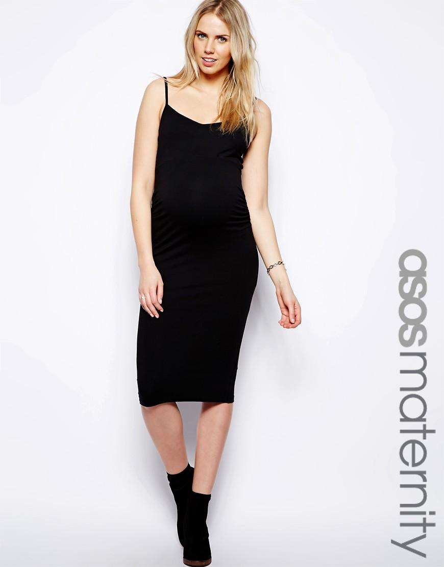 Image 1 ofASOS Maternity Cami Midi Bodycon Dress