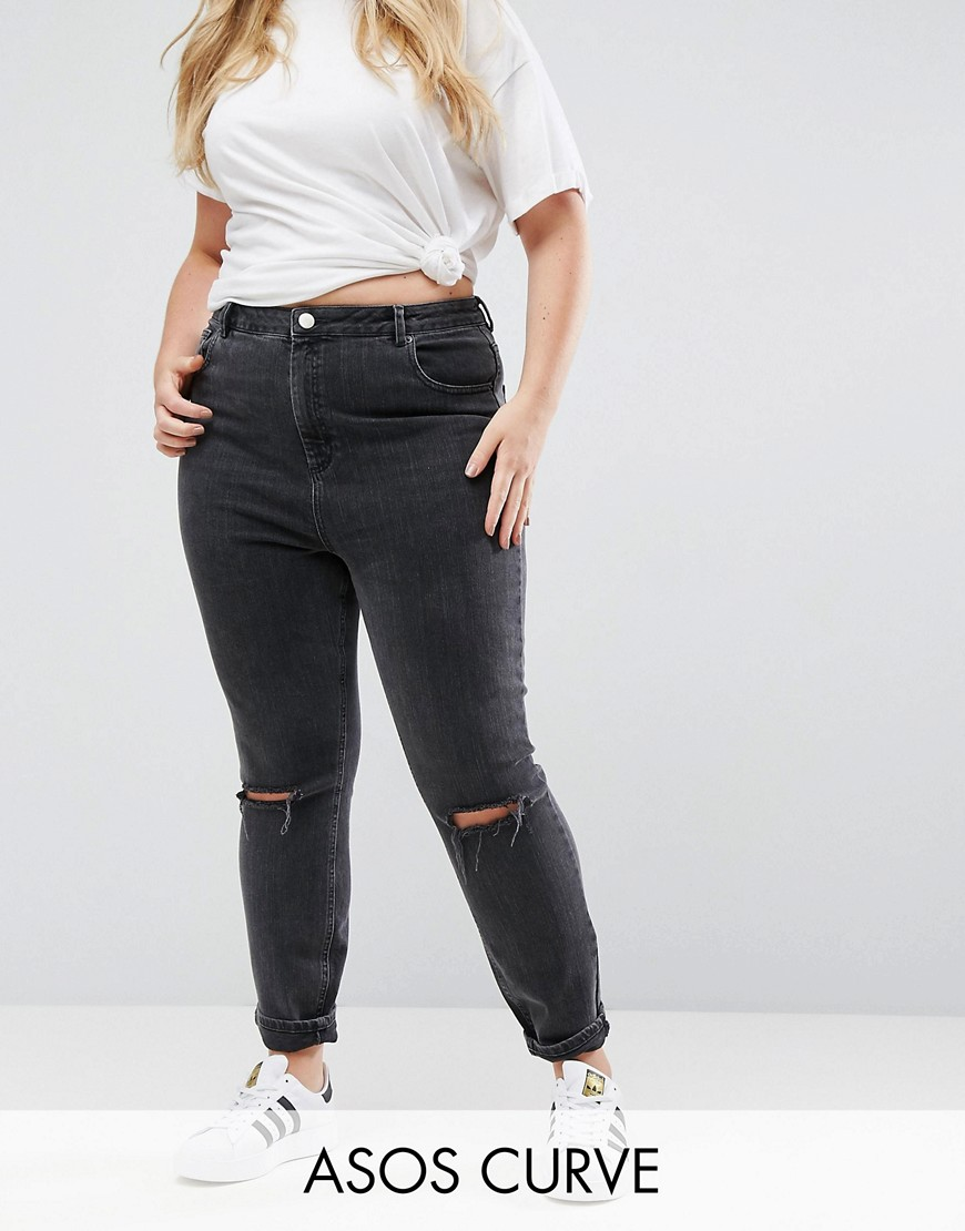 ASOS CURVE Farleigh High Waist Mom Jeans in Washed Black with Busted Knee - Black