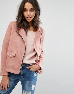 Missguided Faux Suede Biker Jacket