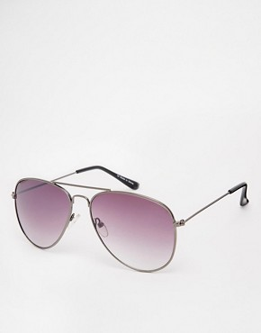 Image 1 ofASOS Gunmetal Aviator Sunglasses