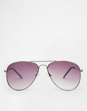Image 2 ofASOS Gunmetal Aviator Sunglasses