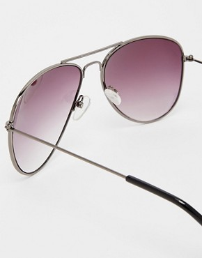 Image 4 ofASOS Gunmetal Aviator Sunglasses