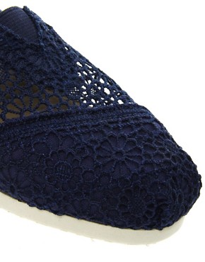 Image 2 ofTOMS Classic Navy Crochet Flat Shoes