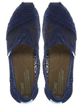 Image 4 ofTOMS Classic Navy Crochet Flat Shoes