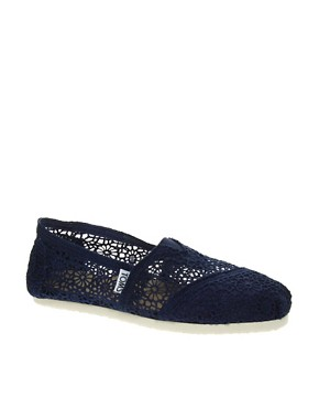 Image 1 ofTOMS Classic Navy Crochet Flat Shoes