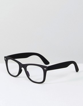 ASOS Retro Clear Lens in Black With Blue Shield Filter