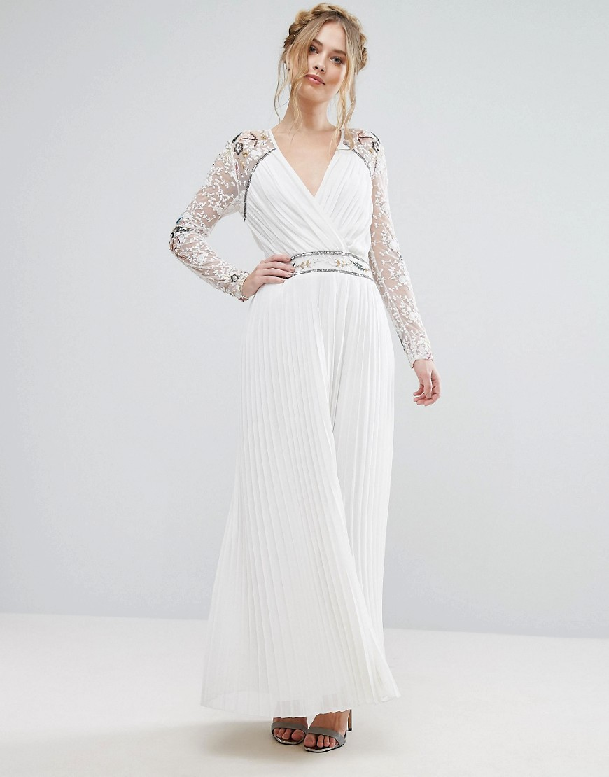 Frock & Frill Wrap Front Maxi Dress With Embellished Sleeves - White
