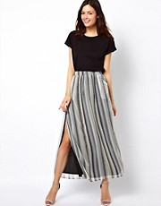 Warehouse Zig Zag Print Maxi Skirt