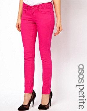 Image 1 ofASOS PETITE Exclusive Skinny Jeans In Pink