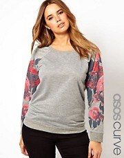 ASOS CURVE Exclusive Sweatshirt With Floral Sleeves