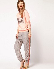 Maison Scotch Printed Trousers with Sporty Stripe