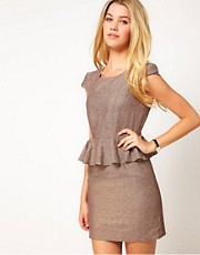 Jovonna Metallic Mix Dress With Peplum