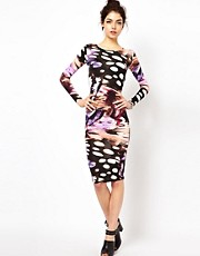 Oh My Love Print Body-Conscious Midi Dress