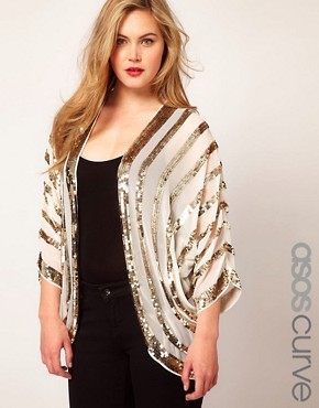 Image 1 ofASOS CURVE Embellished Kimono With Sequin Stripes