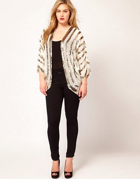 Image 4 ofASOS CURVE Embellished Kimono With Sequin Stripes