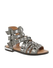 River Island Parch Gladiator Grey Heavy Studded Sandals