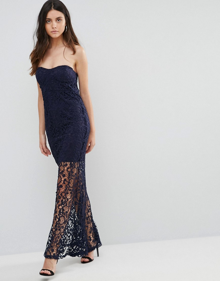 Liquorish Bandeau Lace Maxi Dress
