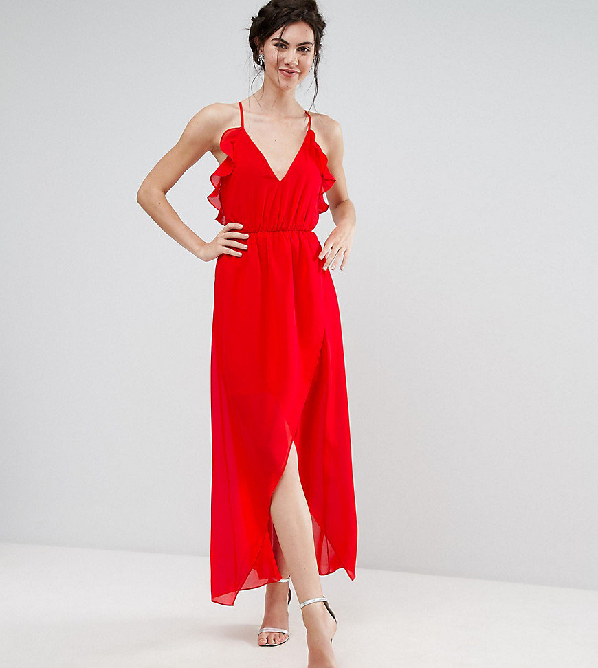 TD By True Decadence Tall Frill Detail High Low Midi Dress With Strappy Back
