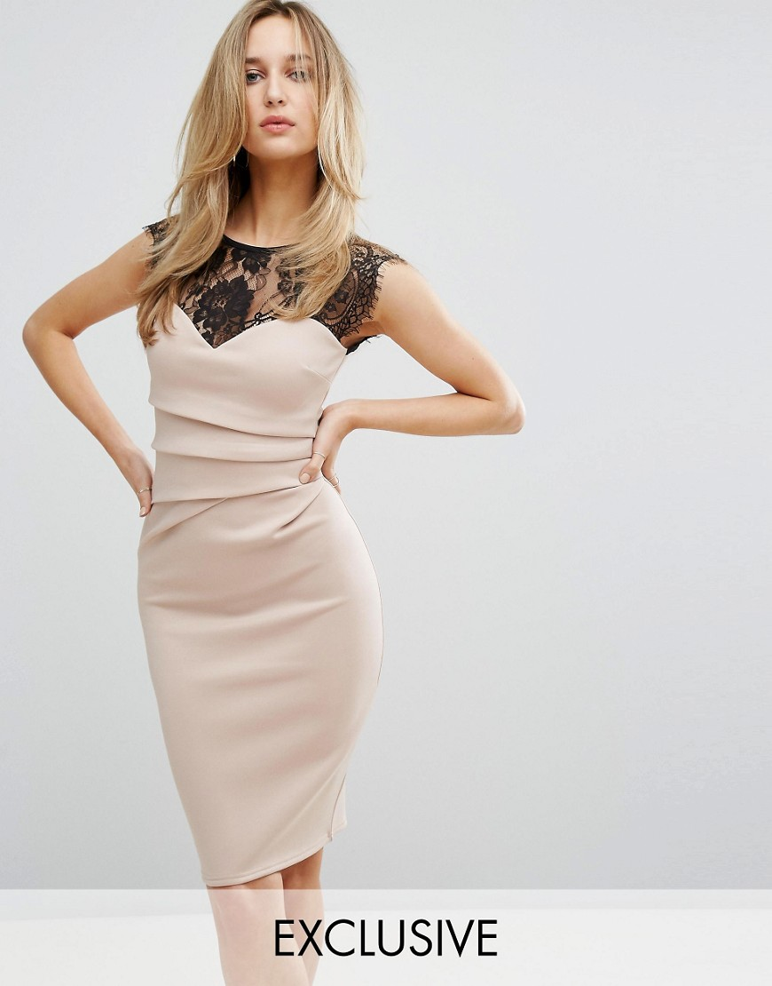Lipsy Eyelash Lace Bodycon Dress - Nude