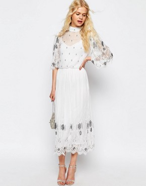ASOS Delicate Vintage Embellished Midi Dress