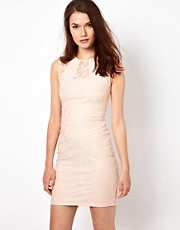 Warehouse Pencil Dress With Bonded Lace