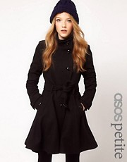 ASOS PETITE Fit and Flare Belted Coat