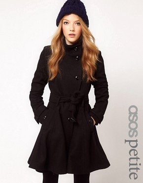 Image 1 ofASOS PETITE Fit and Flare Belted Coat