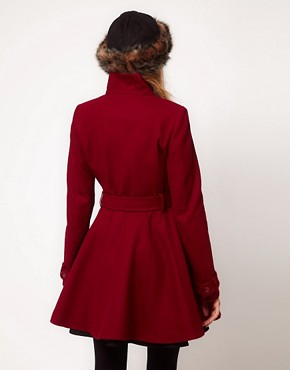 Image 2 ofASOS PETITE Fit and Flare Belted Coat