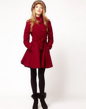 Image 4 ofASOS PETITE Fit and Flare Belted Coat