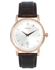 Boss by Hugo Boss  Uhr mit braunem Lederarmband
