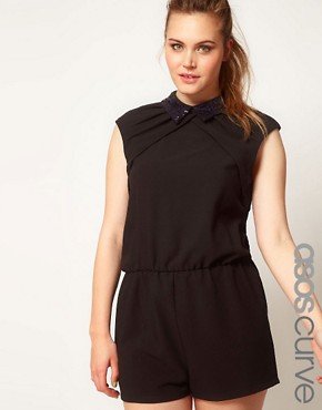 Image 1 ofASOS CURVE Playsuit With Jewelled Collar
