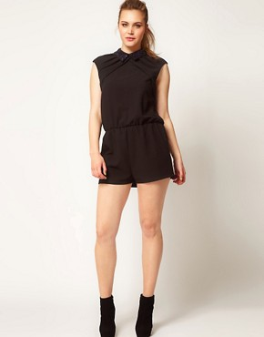 Image 4 ofASOS CURVE Playsuit With Jewelled Collar