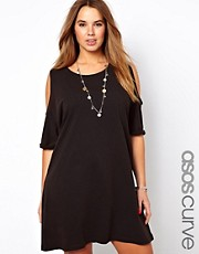 ASOS CURVE - Vestito con spalle scoperte a lavaggio acido
