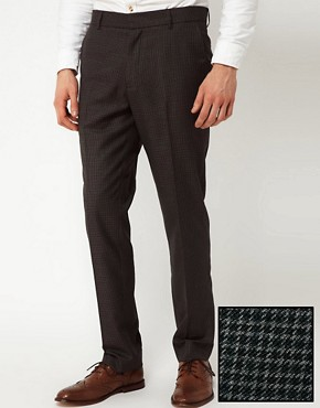 Image 1 ofASOS Slim Fit Smart Trousers in Dogstooth