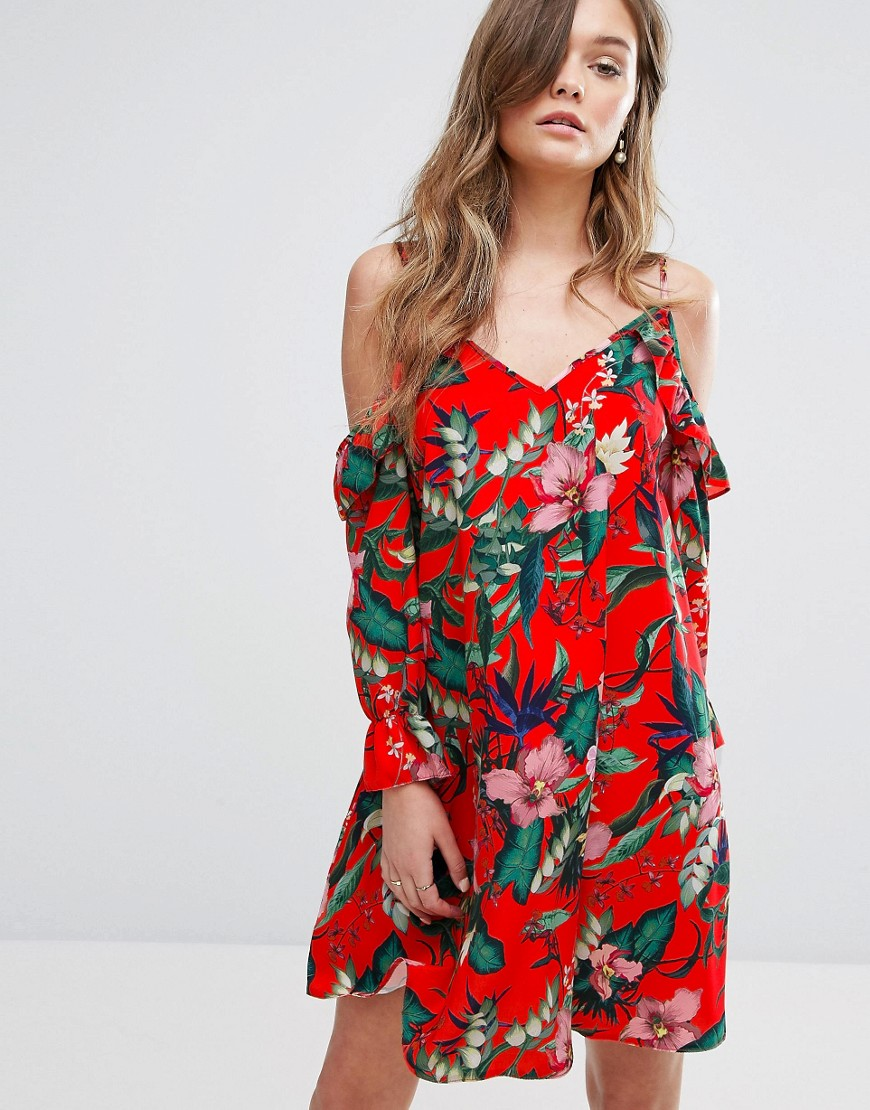 Miss Selfridge Printed Cold Shoulder Smock Dress - Multi