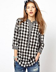 Paul by Paul Smith Wing Collared Shirt in Mixed Gingham Print
