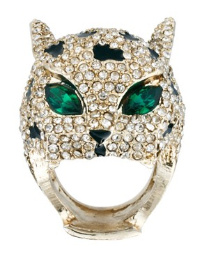 Image 2 ofRiver Island Mega Diamante Panther Ring