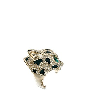 Image 4 ofRiver Island Mega Diamante Panther Ring